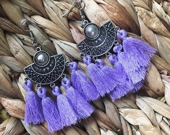 Ethnic purple agate earrings