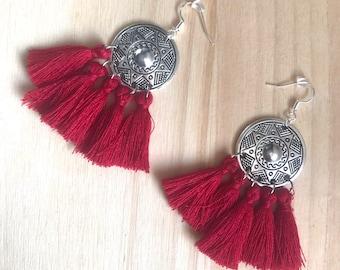 SAMIRA - Ethnic earrings red Burgundy