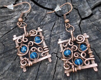 Blue square earrings, Hand forged wire wrap copper dangle earrings, Geometric women metal jewelry, Unique handmade gift for her, Spiral
