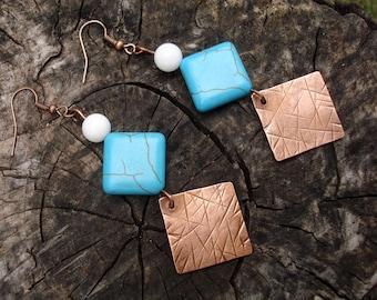 Boho jewelry, Long copper blue earrings, Turquoise boho metal work jewelry, Statement women earrings, Unique jewellery, Handmade earrings