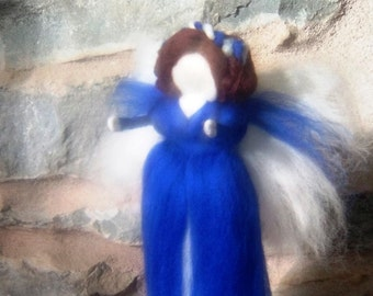 Bluebell fairy Ready to Ship now Needle felted blue fairy woodland felt pixie doll Elf kendal angel Nature table felted girl gift UK