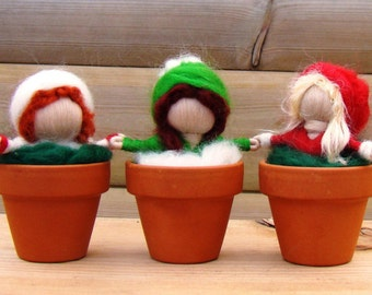 Christmas garden elves, nature table set, waldorf snow baby, felted ivy baby, wool holly child, rootling babes, Christmas elves, wool elves