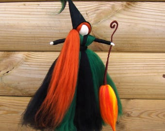 Kitchen witch topper, Yule topper, Fall witch doll, green hedge witch, Halloween witch, Pagan witch, Yule witch, fall decor, trick or treat