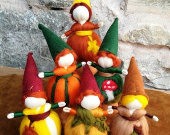 fall gnomes, steiner dolls, mini felted pixie, waldorf doll, story dolls, montessori toy, autumn pixie, oak baby, acorn baby, maple pumpkin
