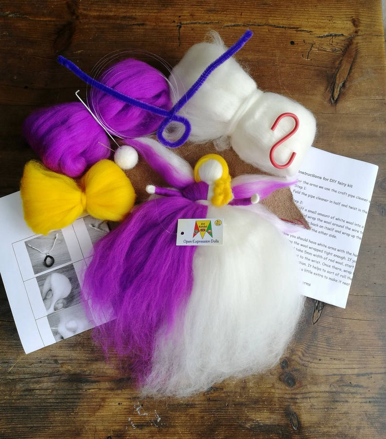 waldorf fairy kit wool toy kit Christmas angel kit Orange Christmas fairy kit Stocking stuffer kit felted angel kit beginner felting