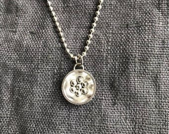 Solid Silver Domed Disc with Silver Balls Pendant