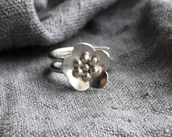 Adjustable Silver Flower Ring