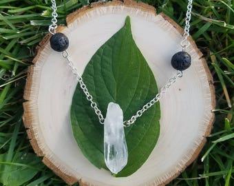 Clear Quartz and Lava Bead Pendant Necklace