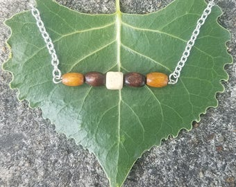 Wood Bead Bar Necklace