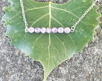 Faceted Amethyst Bar Necklace