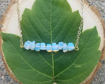 Chipped Opal Bar Necklace