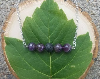 Amethyst and Lava Bead Bar Necklace for use with Essential Oils