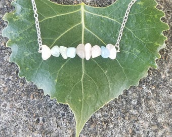 Chipped Sea Opal Bar Necklace