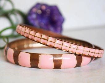 Art Deco Pink and Brass Vintage Jewelry Bangle Bracelet Gift for Her