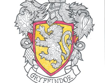 Harry Potter Hufflepuff Pdf Coloring Page Etsy