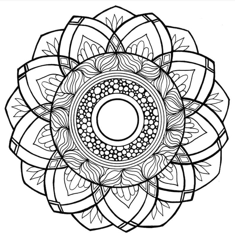 PDF Coloring Page Zen Mandala Flower