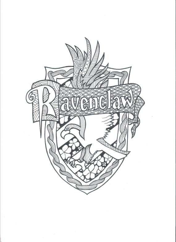 Harry Potter Ravenclaw Pdf Coloring Page Etsy