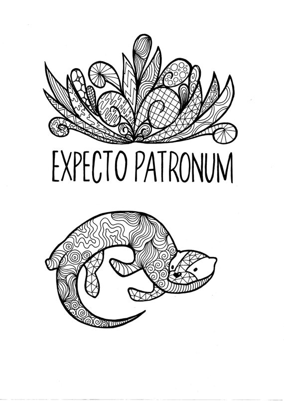 harry potter coloring pages pdf | Harry Potter Hermione Granger Patronus PDF Coloring Page ...