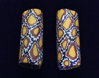 Pair of Matched Millefiori Trade Beads