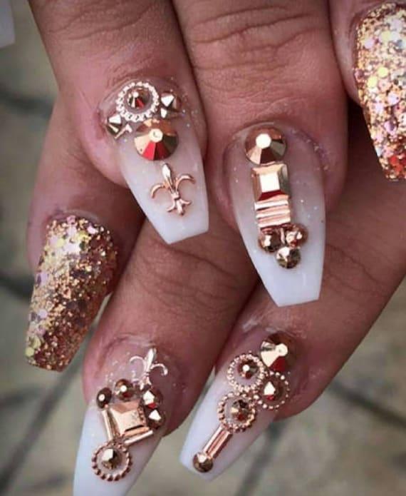 Rose Gold 3d Design Japanese Nail Art Metallic Studs Beads Etsy