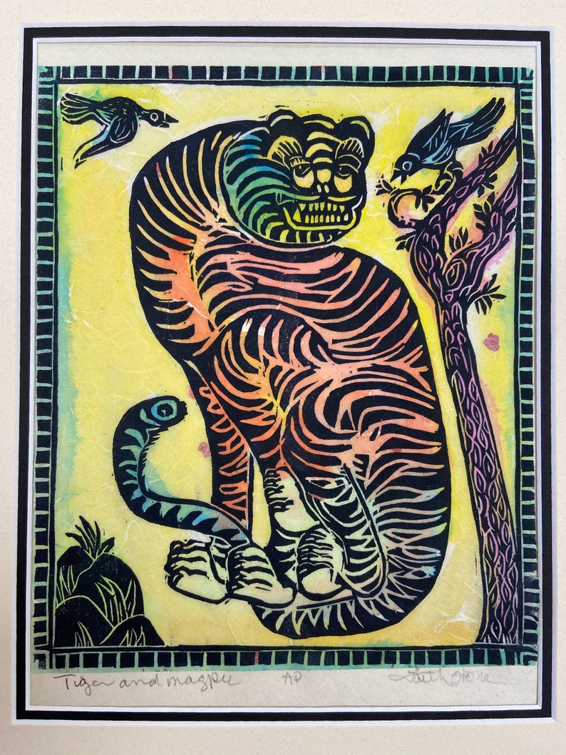 Protection and Good News faithstoneart mokuhanga woodblock Tiger and Magpie Korean Tiger Good Luck for New Year Korean New Year