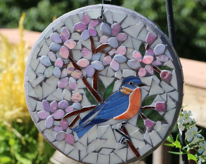 Featured listing image: Gift got Mother's Day/Cherry Blossoms and Bluebird stained glass sun disc/lightcatcher