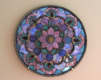 Unique Mosaic Mandala/Mixed Media /Beads and Swarovski Crystals/Stained Glass on Glass Up-cycled Microwave Plate