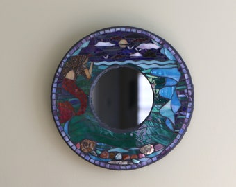 Mermaid Mosaic Wall Mirror/Under the Sea/ Little Mermaid/ Natural stones, fossils/Stained Glass