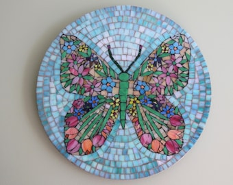 Beautiful Stained Glass Floral Butterfly MosaicWall Art