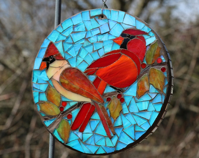 Featured listing image: Mother's Day Mosaic Cardinal Pair with Holly Berries stained glass sun disc/lightcatcher/Mother's Day