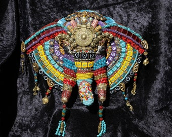 Unique/ Mixed Media/ Mosaic Elephant Totem African Themed