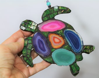 Unique Sea Turtle Dyed Agate and Glass tile Mosaic Holiday Hanging Ornament