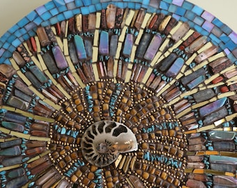 Natural Bead and Stained glass Ammonite Mosaic Wall Decor with real pyrite ammonite fossil