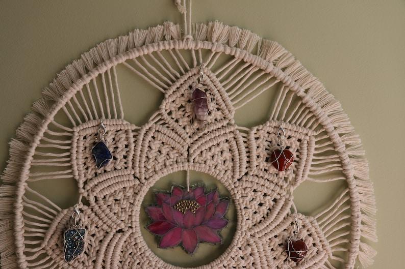 SALE PRICED Macrame MandalaMosaic Lotus flower Removable Chakra crystalsWire wrapped