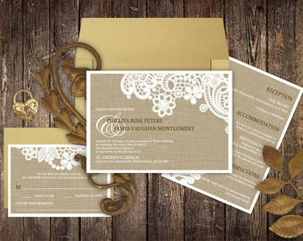Burlap and Lace Wedding Invitations, Rustic, Vintage Lace, Stationery Sets