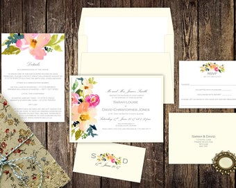 Floral Watercolour Wedding Invitations , White and Natural Invites, Peonies and Roses