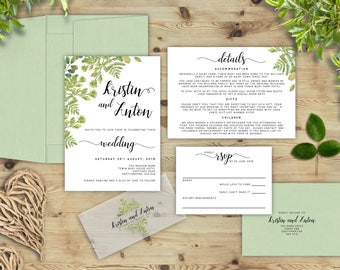 Country Green Wedding Invitations, Green Floral Invites, Country Wedding, Leaf Invitations