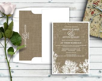Winter Trees, Rustic Wedding Invitations, Bare Trees, Winter Wedding Invites, Burlap Wedding