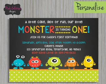 Monster Invite, Monster Invitation, Monster Party, Monster Birthday, First Birthday, Monster First Birthday, Monster, Digital File, First