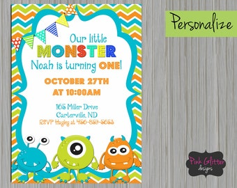 DIGITAL FILE, Monster Invitation, Monster Invite, Monster Birthday, Monster Party, Monster, First Birthday, Second Birthday, Birthday Party