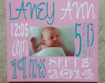 custom birth board sign