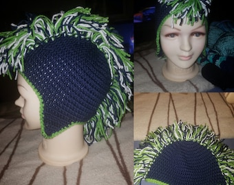 Seahawks Inspired Mohawk Hat