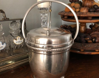 Antique Silver Plate Ice Bucket With Double Lid