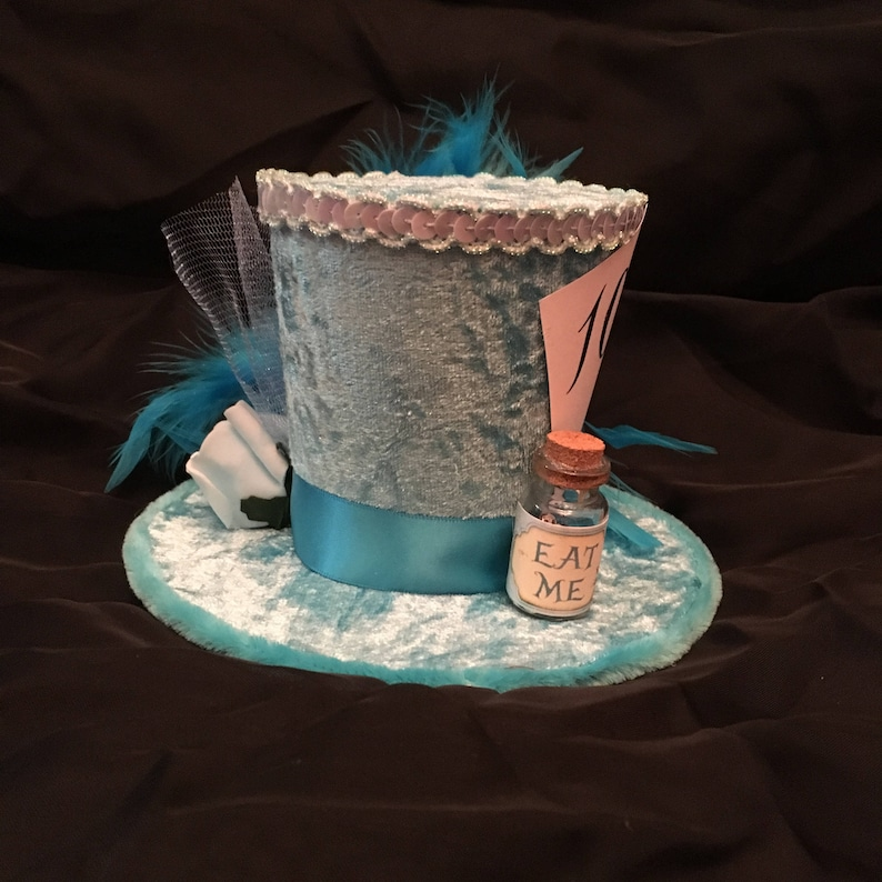 Mad Hatter Alice in wonderland Light Blue Mini Top Hat Fancy  4250dffaa3c