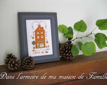 The small houses, fall - plug/grid to cross-stitch