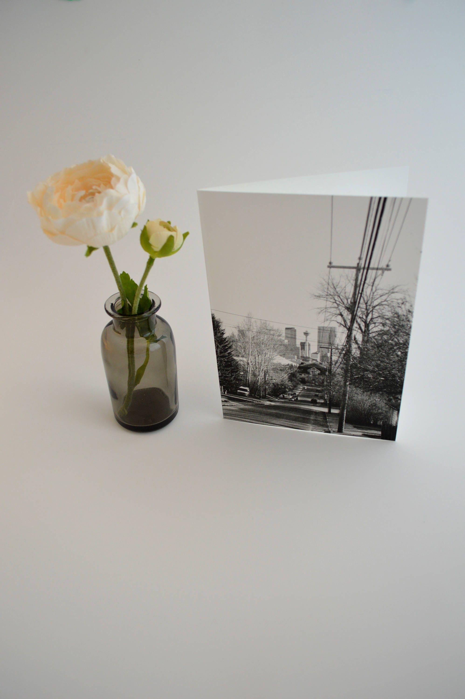 Downtown Calgary Card Yyc City Photo Black White Greeting