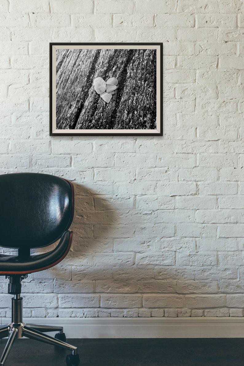Home Decor Art Prints Sea Glass Heart Minimalist Black and image 0