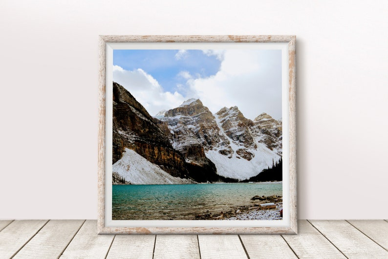 Mountain Lake Art Print Rocky Mountains Square Wall Art 8x8 image 0