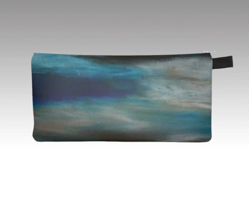 Blue Pencil Case Abstract Art Print Colored Pencil Case image 0