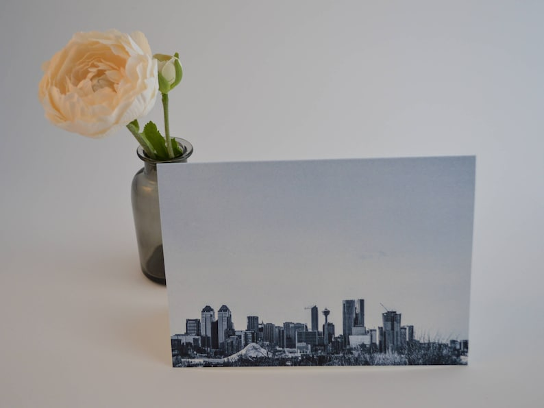 Greeting Cards with Envelopes City Calgary Skyline Blank 1 Card